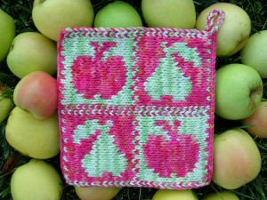 Apples and Pears Knit Pot Holder Pattern